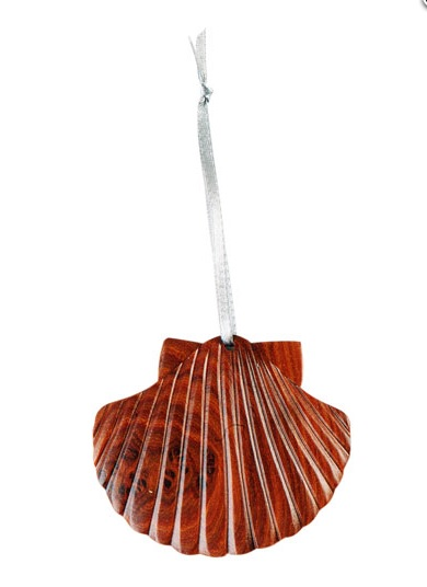 Double Side Wood Intarsia Ornament - Scallop Shell